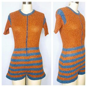 Vintage 70s Knit Hot Shorts Sweater Romper Size S